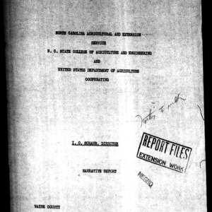 Annual Narrative Report of Home Demonstration Work of Wayne County, NC