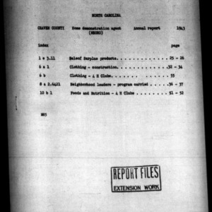 Annual Narrative Report of African American Home Demonstration Work of Craven County, NC