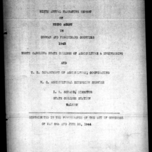 Annual Narative Report of Negro County Extension Work, Chowan and Perquimans Counties, NC