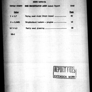 Annual Narrative Report of Home Demonstration Division of Chowan County, NC