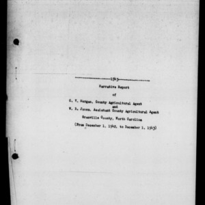 Annual Narrative Report of 4-H Club Work, Granville County, NC, 1943