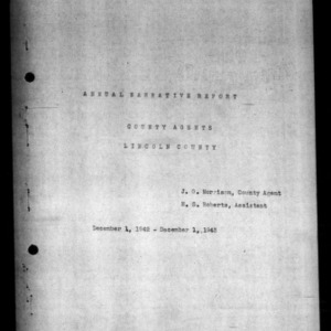 Annual Narative Report of County Agent, Lincoln County, NC