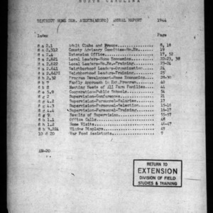 Annual Report of African American Home Demonstration Work, Western District, NC, 1944