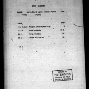 Annual Narative Report of County Agent, Bladen County, NC