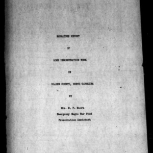 Annual Narrative Report of County Home Demonstration Agent, African American, Bladen County, NC