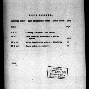 Annual Narrative Report of County Home Demonstration Agent, Brunswick County, NC, 1944
