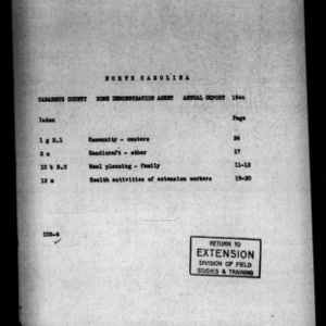 Annual Narrative Report of County Home Demonstration Agent, Cabarrus County, NC, 1944