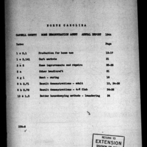 Annual Narrative Report of County Home Demonstration Agent and 4-H Work, Caswell County, NC, 1944