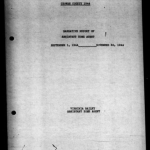 Narrative Report of Assistant Home Agent of Chowan County, NC