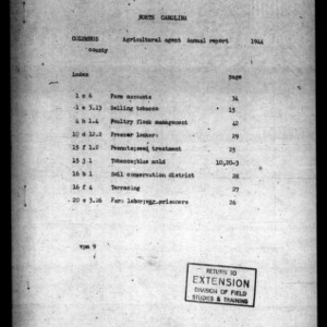 1944 Narrative Report of Columbus County, NC