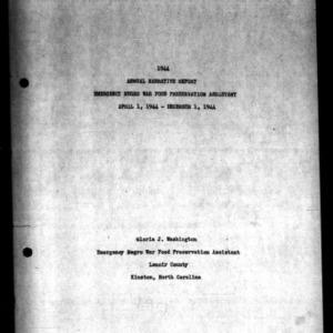 Annual Narrative Report Emergency War Food Preservation
