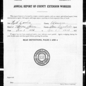 Annual Narrative Report of Extension Work in Alamance County, NC