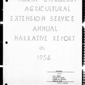 Annual Narative Report of County Agent, Alamance County, NC