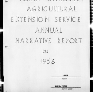 Annual Narative Report of County Agent, Anson County, NC