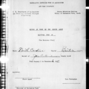 Annual Narrative Report of County Agents, Bertie County, NC
