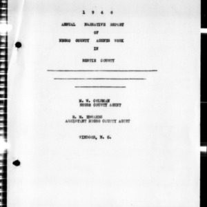 Annual Narative Report of County Agents, Bertie County, NC