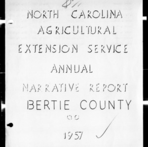Annual Narative Report of Bertie County, NC