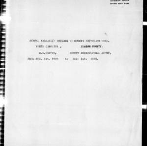 Annual Narrative Report of County Agents, Bladen County, NC
