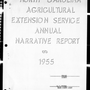 Annual Narative Report of County Agents, Bladen County, NC