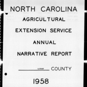 Annual Narrative Report of County Agents, Carteret County, NC
