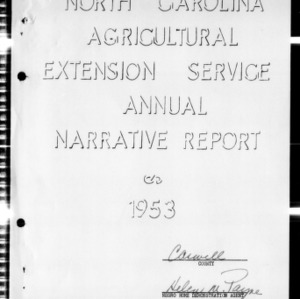 Annual Narrative Report of Extension Work, African American, Caswell County, NC, 1953