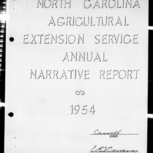 Annual Narrative Report of Extension Work, African American, Caswell County, NC, 1954