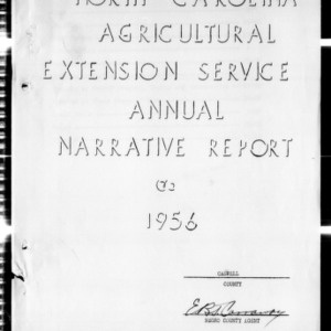Annual Narrative Report of Extension Work, African American, Caswell County, NC, 1956