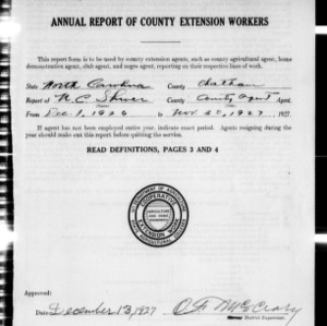 Annual Report of County Extension Workers, Chatham County, NC