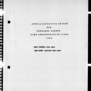Annual Narrative Report for Home Demonstration Clubs, Cherokee County, NC, 1946
