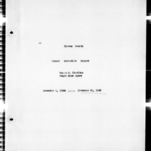 Annual Narrative Report of County Agents, Chowan County, NC