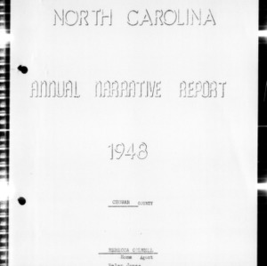 Annual Narrative Report of Home Demonstration Work of Chowan County, NC