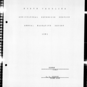 Annual Narative Report of County Agents, Chowan County, NC