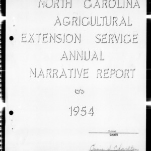 North Carolina Agricultural Extension Service Annual Narrative Report, Chowan County, NC
