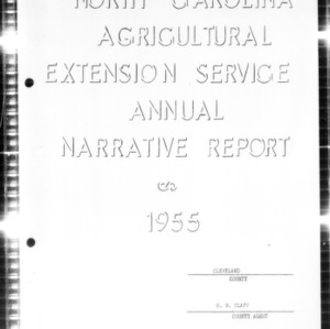 Annual Narrative Report of Extension Work, Cleveland County, NC, 1955