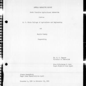 Annual Narrative Report of Home Demonstration Work, African American, Duplin County, NC, 1951