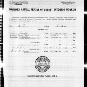 Combined Annual Report of County Extension Workers, Durham County, NC