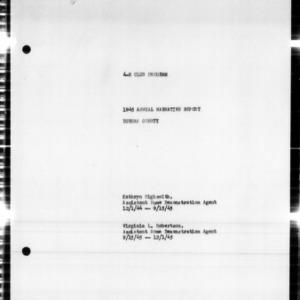 4-H Club Program Annual Narrative Report, Durham County, NC, 1945