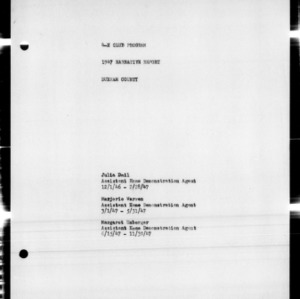 4-H Club Program Annual Narrative Report, Durham County, NC, 1947