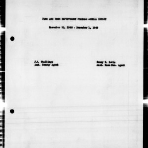 Farm and Home Improvement Program Annual Report, Edgecombe County, NC