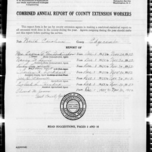 Combined Annual Report of County Extension Workers, Edgecombe County, NC