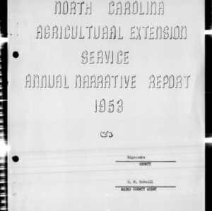 Agricultural Extension Service Annual Narrative Report, African American, Edgecombe County, NC, 1953
