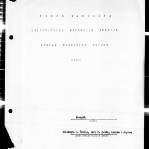 North Carolina Agricultural Extension Service Annual Narrative Report, Forsyth County, NC