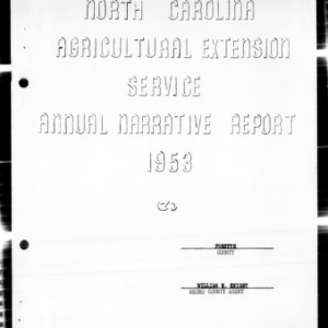 Agricultural Extension Service Annual Narrative Report, African American, Forsyth County, NC, 1953