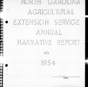 Agricultural Extension Service Annual Narrative Report, Forsyth County, NC, 1954