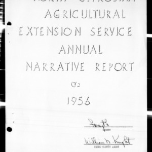 Agricultural Extension Service Annual Narrative Report, African American, Forsyth County, NC, 1956