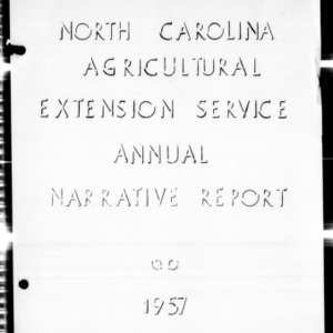 Agricultural Extension Service Annual Narrative Report, Forsyth County, NC, 1957