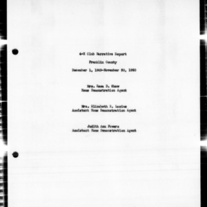 4-H Club Annual Narrative Report, Franklin County, NC, 1950