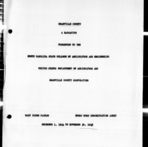 Annual Narrative Report of Home Demonstration Work, African American, Granville County, NC, 1945
