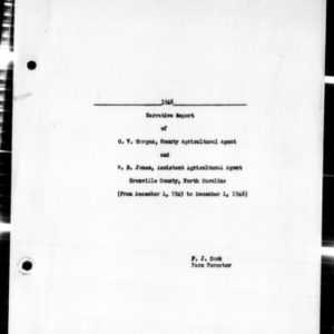 Annual Narrative Report of Extension Work, Granville County, NC, 1946