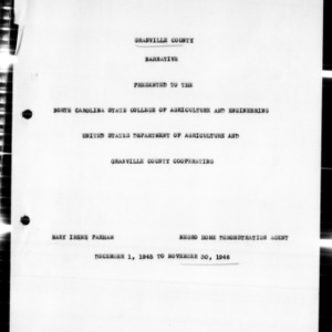 Annual Narrative Report of Home Demonstration Work and 4-H Club Work, African American, Granville County, NC, 1946